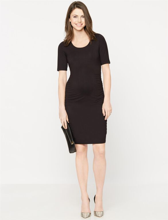 Side Ruched Maternity Dress- Black, Black