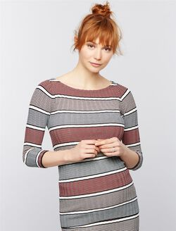Rib Knit Maternity Sweater, Multistripe