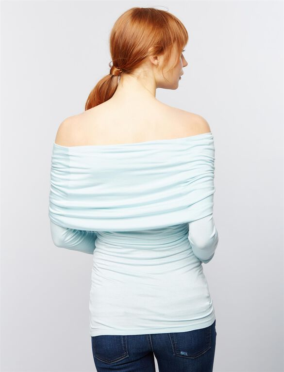 Cowl Off The Shoulder Maternity Top- Turquoise, Iced Turquiose