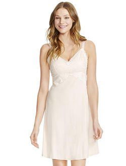 Jessica Simpson Lace Nursing Nightgown, Silver Peony