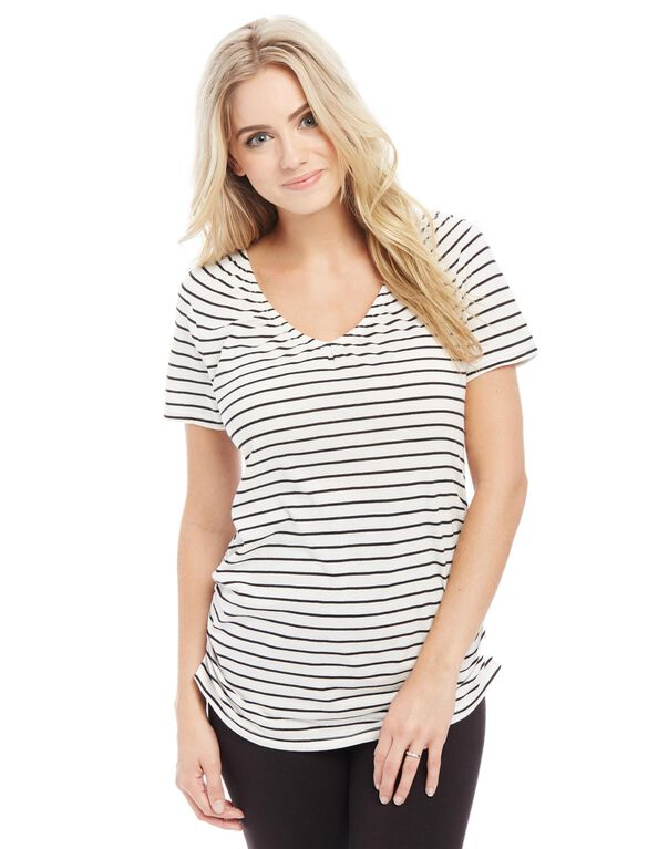V-neck Pull Down Nursing Tee- Stripe, Multi Stripe