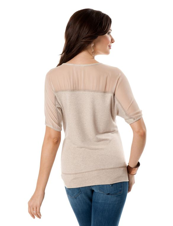 Striped Maternity T Shirt, Heather Oatmeal