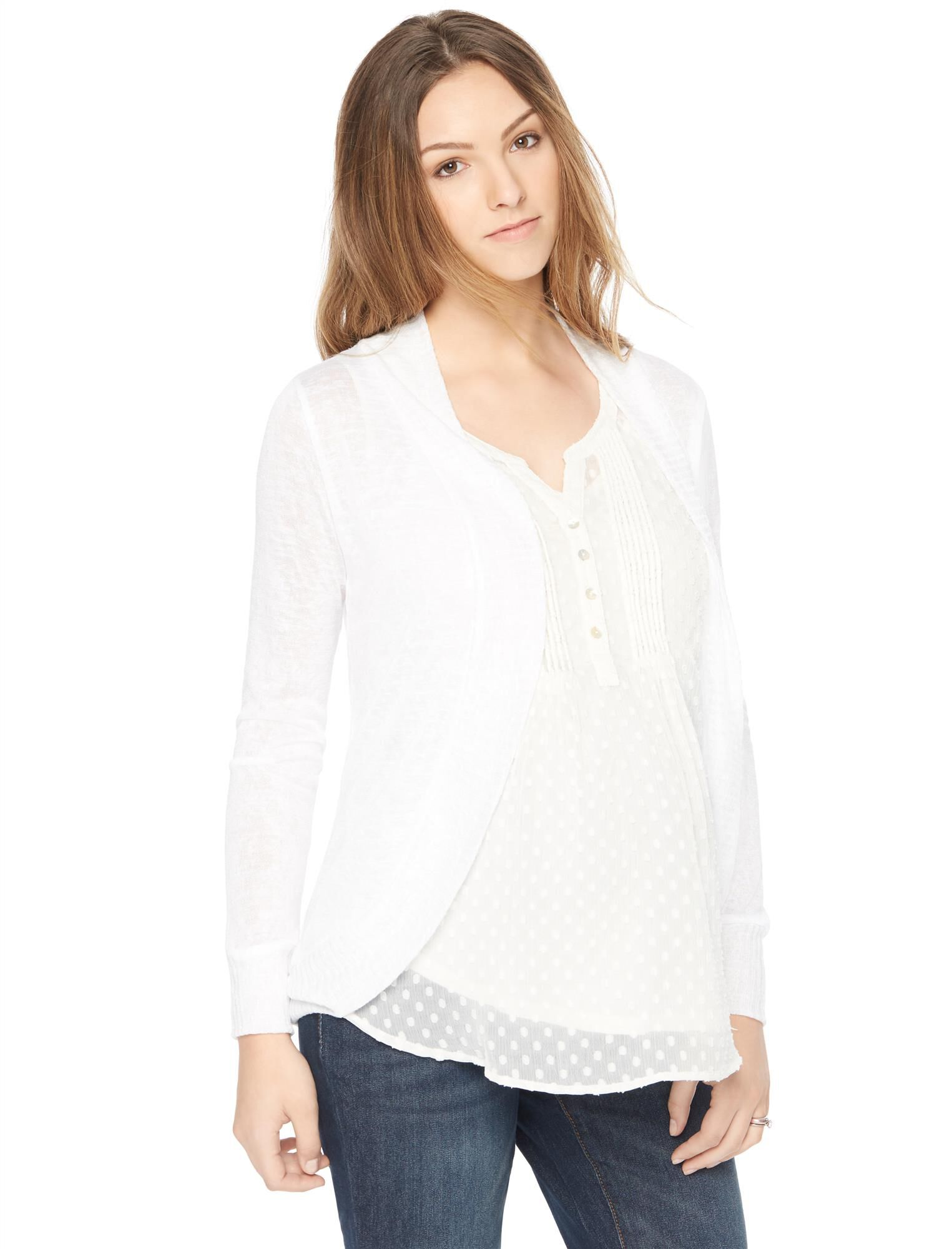 Open Front Hacci Knit Maternity Cardigan- White