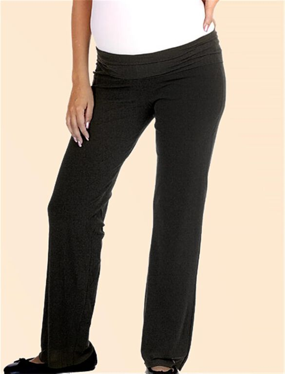 Pull On Style Mesh Boot Cut Maternity Pants, Black