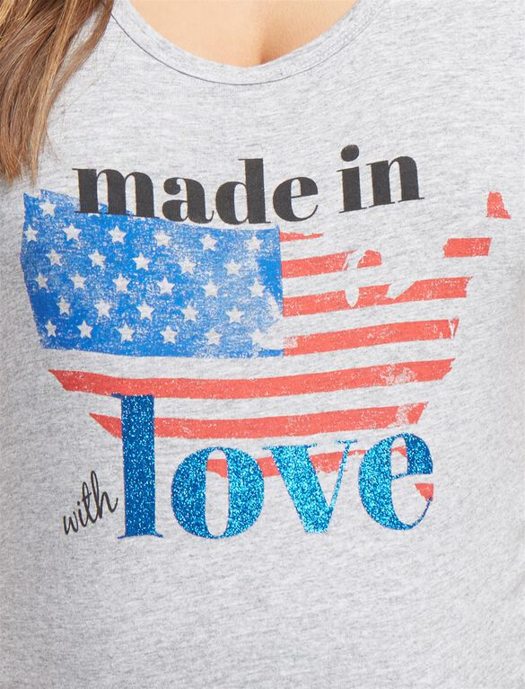Made in USA Love Maternity Tee, Grey