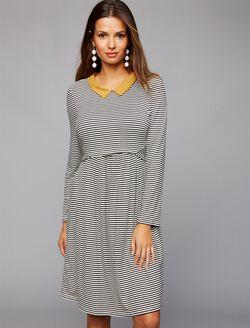Envie De Fraise Pull Down Nursing Dress, Black/Off White Stripe