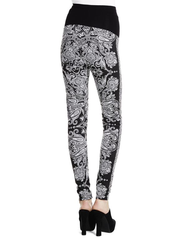 Jessica Simpson Secret Fit Belly Jacquard Maternity Leggings, Black Print