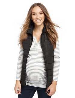 Quilted Puffer Maternity Vest, Black
