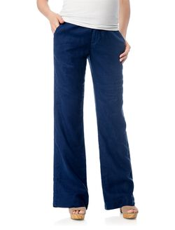 Pull On Style Linen Skinny Flare Maternity Pants, Navy