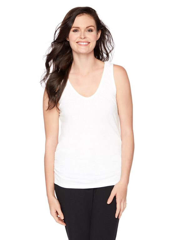 V-neck Pull Down Nursing Tank Top, White