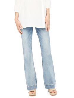 Indigo Blue Secret Fit Belly Flare Leg Maternity Jeans, Light Wash