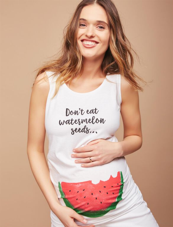 Don't Eat Watermelon Seeds Maternity Tank, White