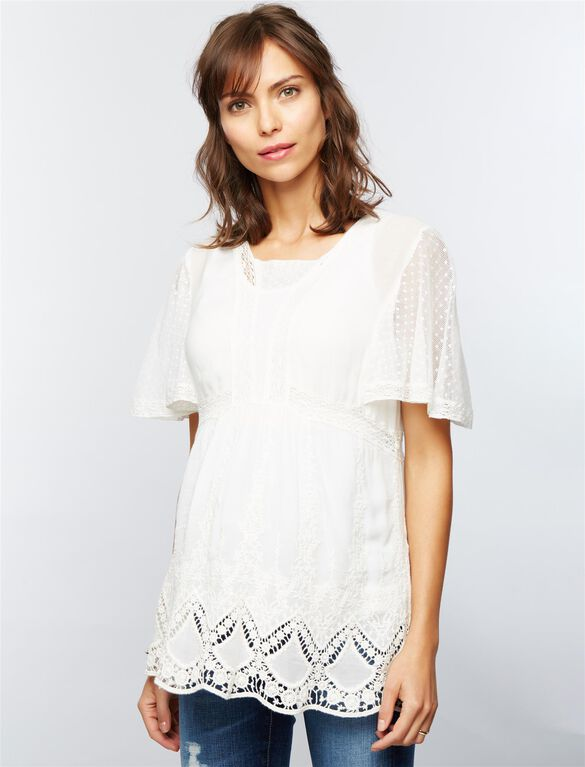 Lace Maternity Blouse, White
