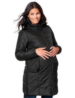 Quilted Puffer Micro Fiber Adjustable Maternity Coat, Black