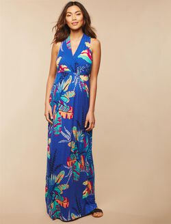 Surplice Neckline Maternity Maxi Dress- Botanical, Blue Botanical Print