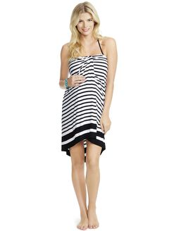 Jessica Simpson Halter Maternity Swim Cover-up, Black/White Stripe