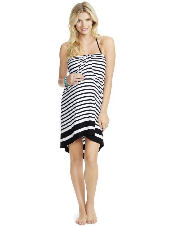 Jessica Simpson Halter Maternity Swim Cover-up, Black/White Stripe