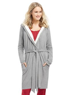 French Terry Hooded Maternity Robe, Heather Grey