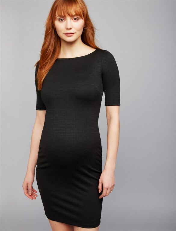 Bodycon Maternity Sheath Dress- Black, Black