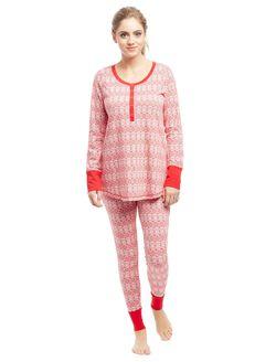 Henley Maternity Pajama Set, Red Fairisle