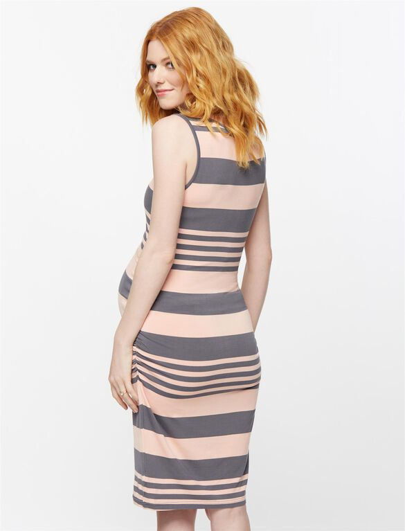Ripe Striped Lift Up Nursing Dress, Peach Stripe
