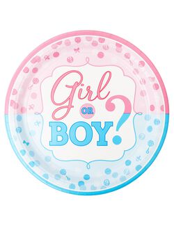 Girl or Boy Gender Reveal Large Party Plates, Pink/Blue