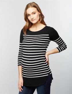 Striped Back Zip Maternity Shirt, Stripe