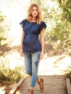 Dot Flutter Sleeve Maternity Blouse, Navy