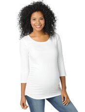 Scoop Neck Side Ruched Maternity Top, White