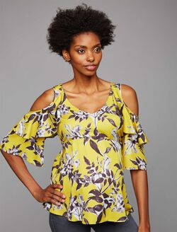 Ruffled Cold Shoulder Maternity Blouse, Yellow Floral Print