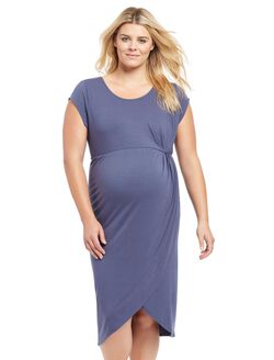 Plus Size Tulip Hem Maternity Dress- Blue, Nightshadow Blue