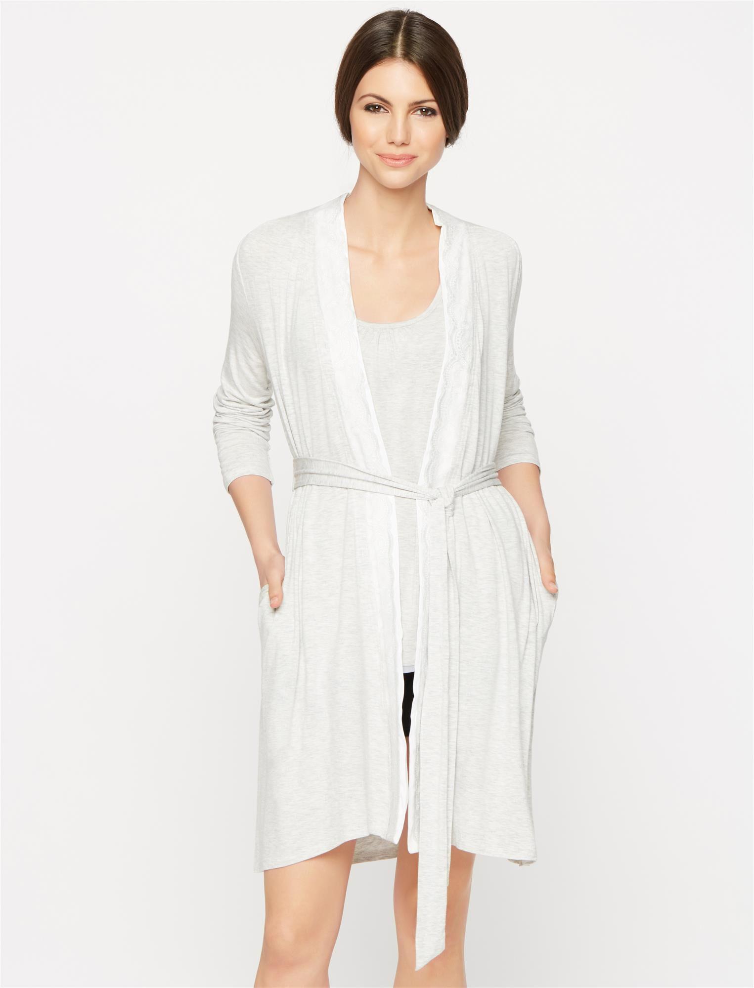 Lace Trim Nursing Robe- Solid