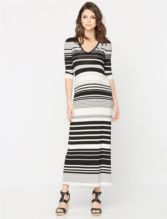 BCBGMAXAZRIA Striped Maternity Maxi Dress, Black/White Stripe
