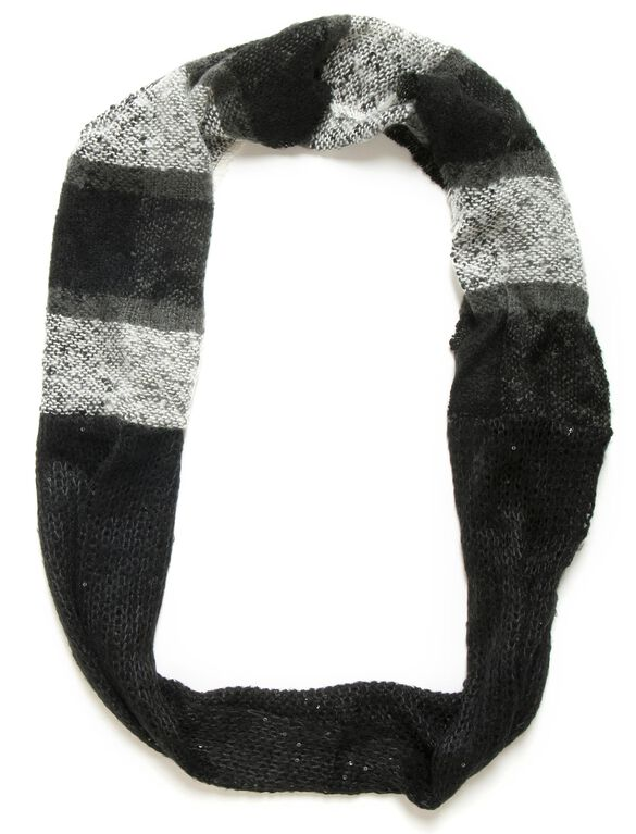 Boucle And Knit Sequin Loop Scarf, Black And White