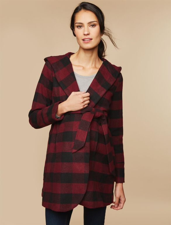 Hooded Boucle Maternity Jacket, Red Plaid