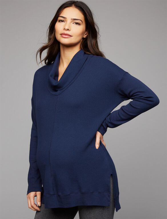 Splendid Cowl Thermal Maternity Shirt- Navy, Navy