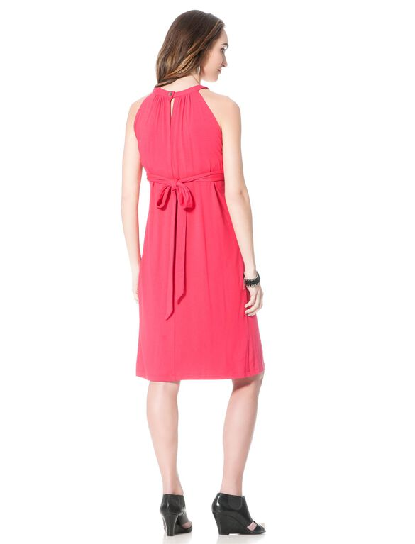 Belted Maternity Dress, Dahlia Pink