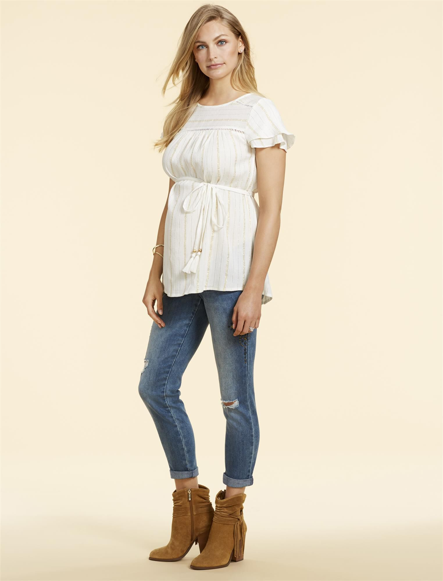 Jessica Simpson Secret Fit Belly Straight Leg Maternity Crop Jeans