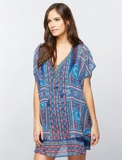 Border Print Tie Front Maternity Swim Cover Up, Border Print
