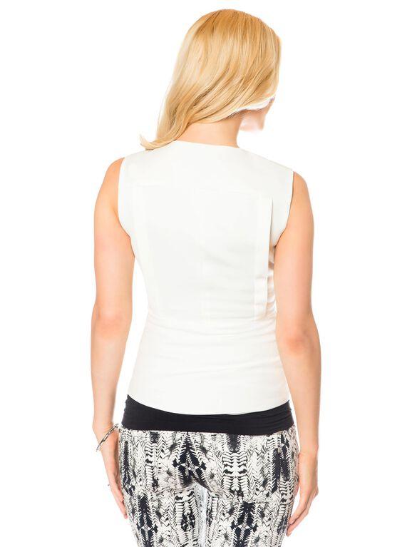 BCBGMAXAZRIA Zip Front Maternity Vest, Off White