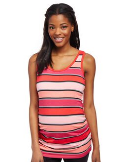 Side Ruched Scoop Neck Maternity Tank Top- Stripe, Pink Stripe