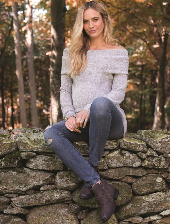 Off The Shoulder Maternity Sweater, Gray