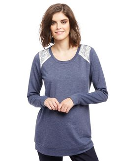 Lace Shoulder Crew Neck Maternity Sweatshirt, Primary Navy