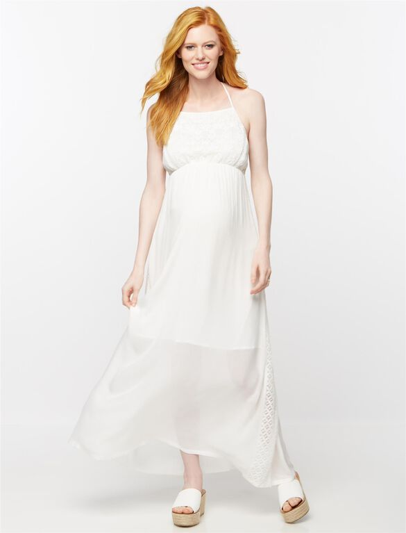 Back Interest Maternity Maxi Dress, Cream