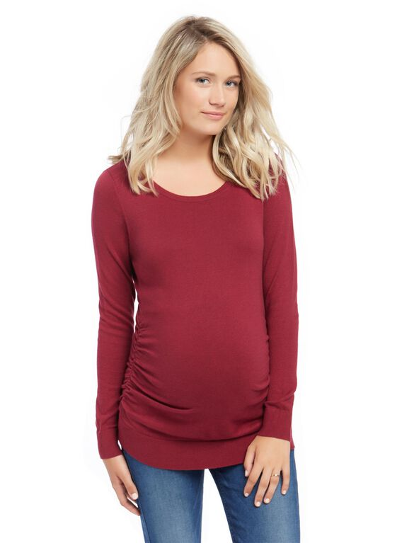 Side Ruched Maternity Sweater- Solid, Wine