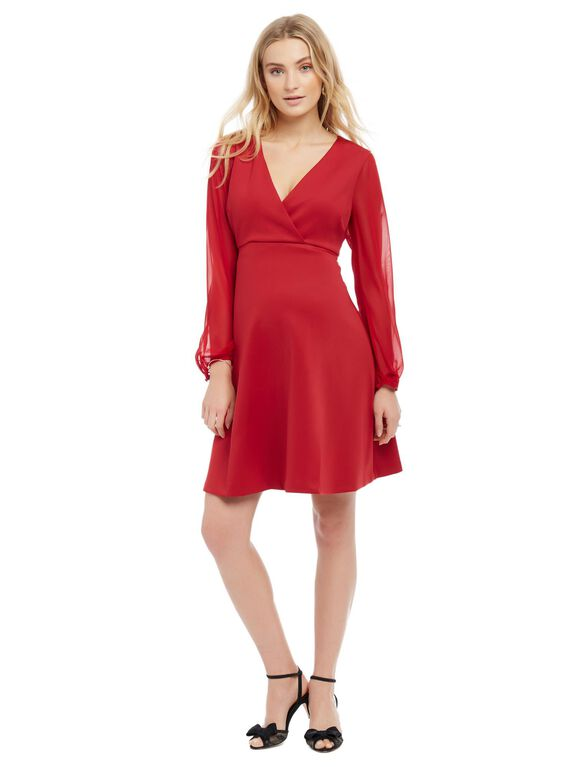 Sheer Sleeve Maternity Dress, Red