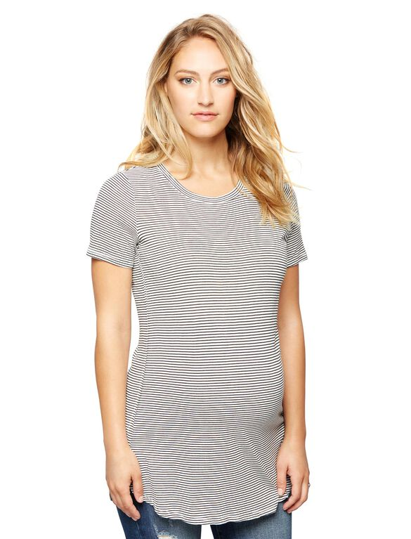Soft Knit Maternity Top- Stripe, Blackwhite Stripe