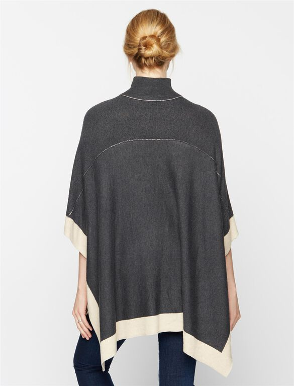 Splendid Maternity Poncho Sweater, Charcoal/Camel
