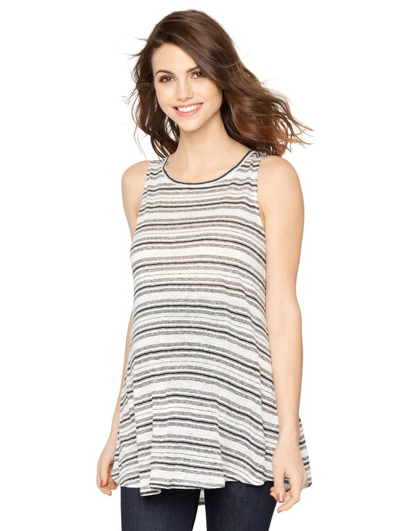 Striped Maternity Tunic- Midnight/White, Midnight/White