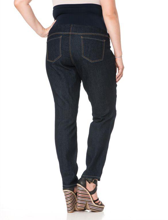 Plus Size Secret Fit Belly Skinny Leg Maternity Jeans, Dark Wash